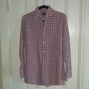 Hugo Boss sharp fit plaid button down shirt
